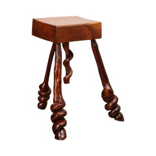 Studio Movement Walnut Block Stool with Stick Legs & Spiral Knot Feet For Sale
