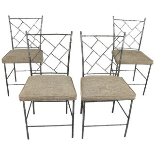 Set of Four Steel Chippendale Style 'Bamboo' Dining Chairs For Sale
