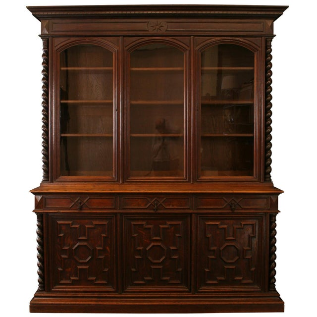 Antique French Hunt-Style Bookcase & Buffet - Image 1 of 8