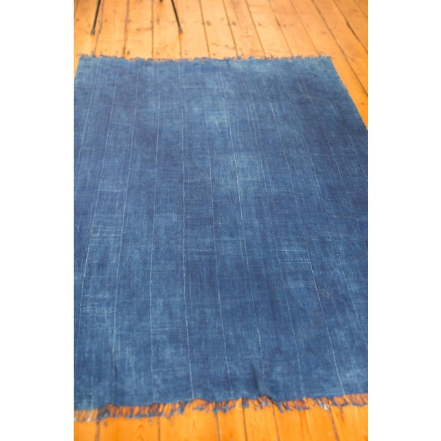 "Vintage Indigo African Batik Throw - 4' x 6'3"" - Image 6 of 7"