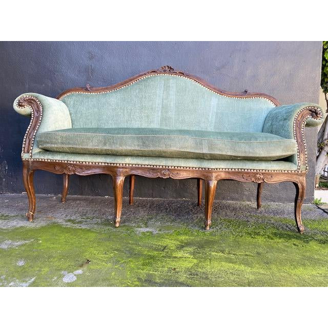 Late 18th C. To Early 19th C. French Walnut Settee With Green Chenile For Sale - Image 4 of 12