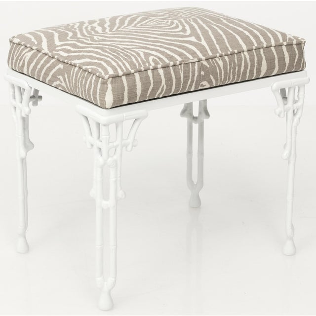 Chinoiserie White Metal Bamboo Style Console and Bench For Sale - Image 4 of 12