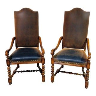 20th Century Renaissance Style Upholstered Wooden Throne Chairs - a Pair