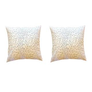 "Sarah Richardson for Kravet ""Kitty Kat"" Aquamarine Pillows - a Pair For Sale"