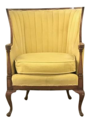 Merveilleux Antique Canary Yellow Velvet Wingback Chair