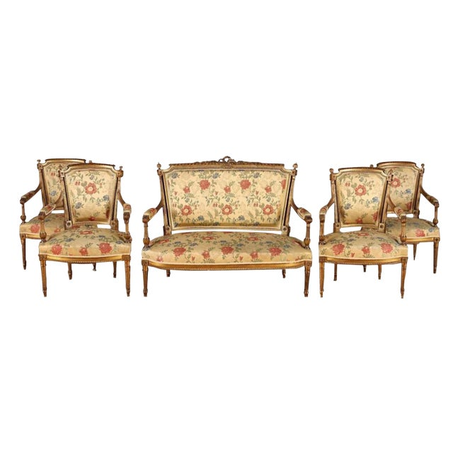 French Gilt Wood Louis XVI Style Settee & Arm Chairs - Set of 5 For Sale