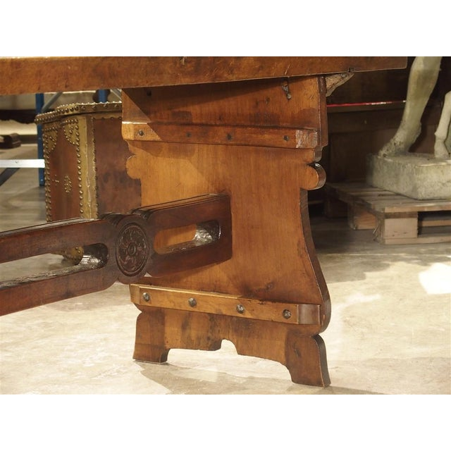 Antique Walnut Refectory Table From Tuscan Mountain Region C. 18th Century For Sale - Image 9 of 13