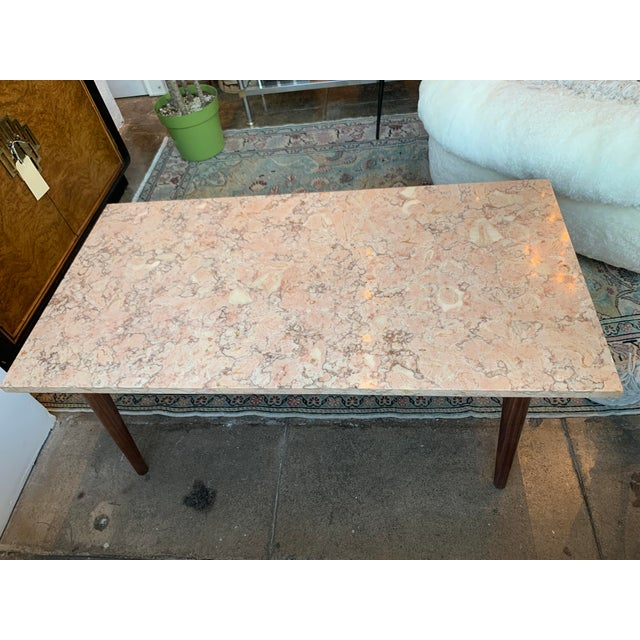 Mid-Century Modern Pink Marble Coffee Table For Sale In Los Angeles - Image 6 of 12