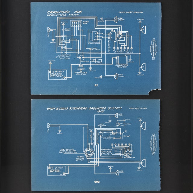 Framed Antique 1918 Mechanical Blueprints - Pair - Image 2 of 2