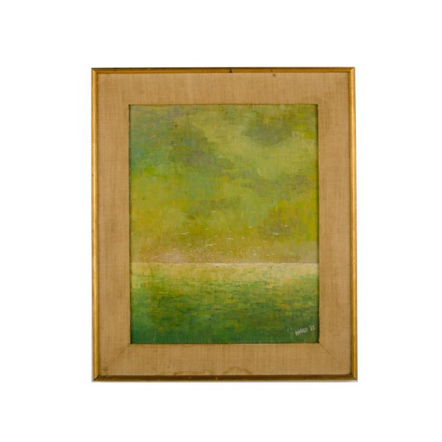 """1960s """"Flock of Seagulls"""" Abstract Oil Painting, Framed For Sale - Image 12 of 12"""