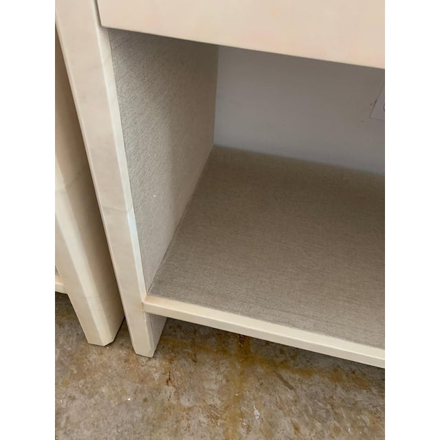 Metal Polished Faux Vellum Nightstands From Made Goods - a Pair For Sale - Image 7 of 13