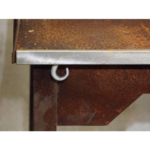 Rusted Metal Industrial Desk - Image 4 of 9