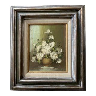 Mid-Century Flower Still Life Signed Oil Painting For Sale
