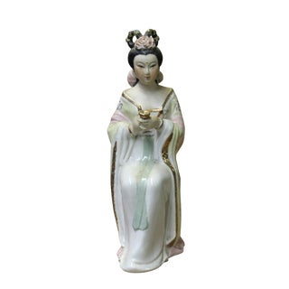 Chinese Oriental Ceramic Ancient Style Dressing Lady Figure For Sale