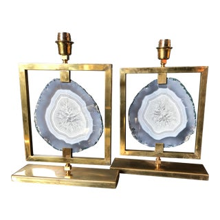 Couple of table lamps Agate in natural brass For Sale