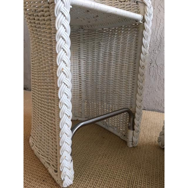 Bamboo Woven Rattan Bar Stools - a Pair For Sale - Image 7 of 9