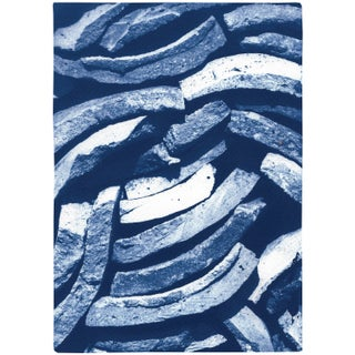 """2021 """"Stacked Curved Tiles"""" Contemporary Abstract Handmade Cyanotype Print by Kind of Cyan For Sale"""
