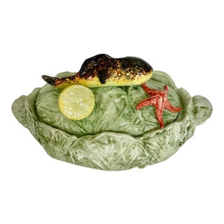 Made in Italy Valli CERAMICHE.Majolica Fish Lidded Soup Tureen For Sale