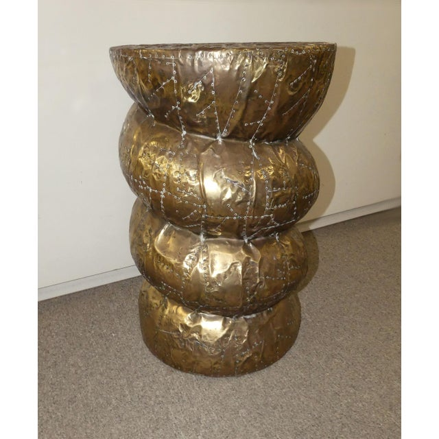 Gold Signed Arthur Court Hammered Brass Side Table or Accent Table Base For Sale - Image 8 of 9