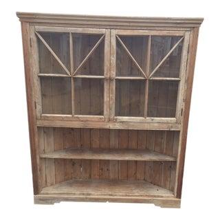19th Century English Pine Corner Cupboard For Sale
