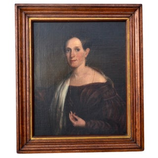 Antique 19th Century Original Oil Painting Portrait of a Young Woman For Sale