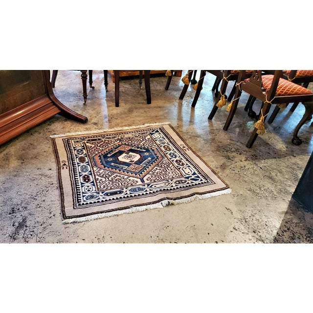 Early 20th Century Vintage Afghan Tribal Square Prayer Rug- 3′7″ × 3′8″ For Sale - Image 10 of 11