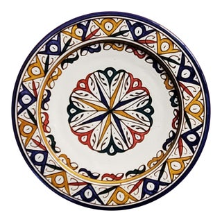 Moroccan Hand Painted Pottery Multi-Color 4 Plate For Sale