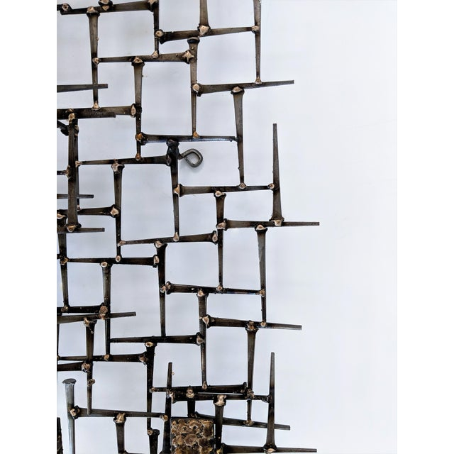 Abstract Nail & Bronze Wall Jere Style Sculpture For Sale - Image 10 of 12