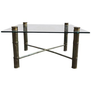 Faux Brass Bamboo and Glass Coffee Table For Sale