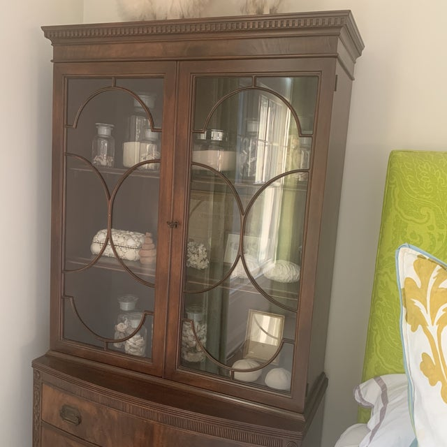Antique Mahogany China Display Cabinet For Sale - Image 11 of 13
