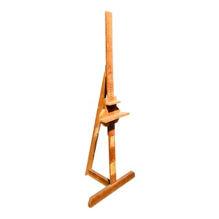 Vintage Tall Wooden Artist's Easel For Sale