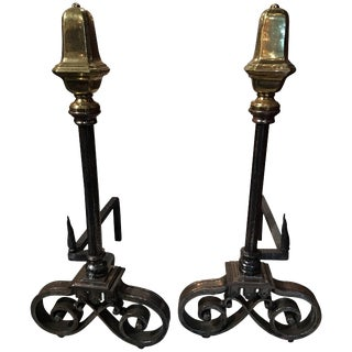 Pair of Polished Iron and Brass Chenets or Andirons, 19th Century For Sale