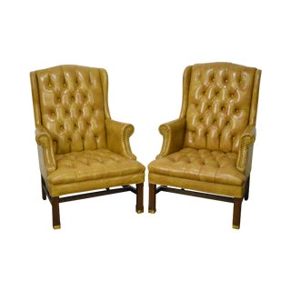 Chippendale Chesterfield Style Pair of Tufted Leather Wing Chairs by Hickory