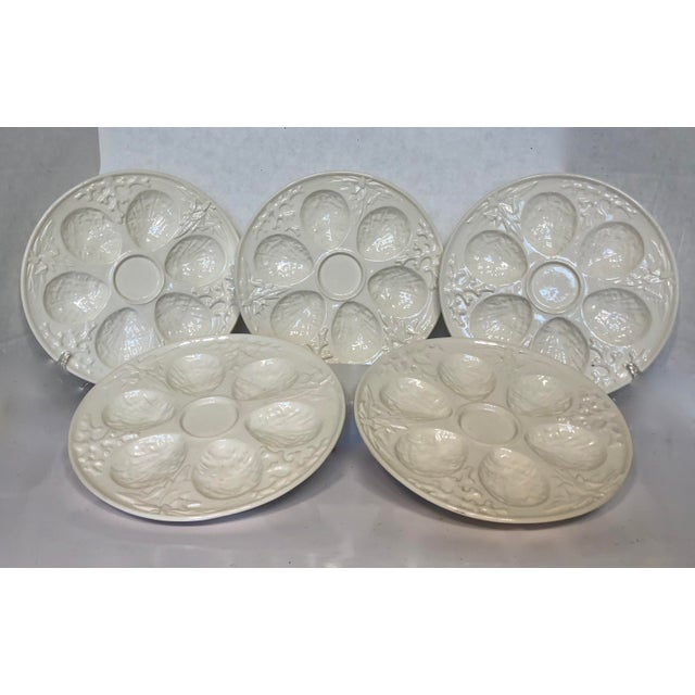 Nautical Vintage Cream Embossed Czechoslovakia Oyster Plates - Set of 5 For Sale - Image 3 of 8