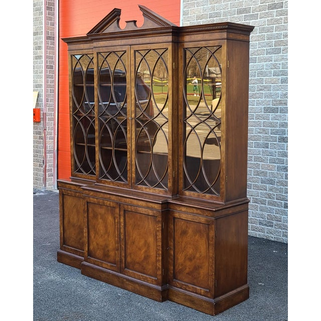 Traditional Vintage Late 20th Century Regency Style Old Colony Furniture Mahogany Breakfront Cabinet C1970s For Sale - Image 3 of 13
