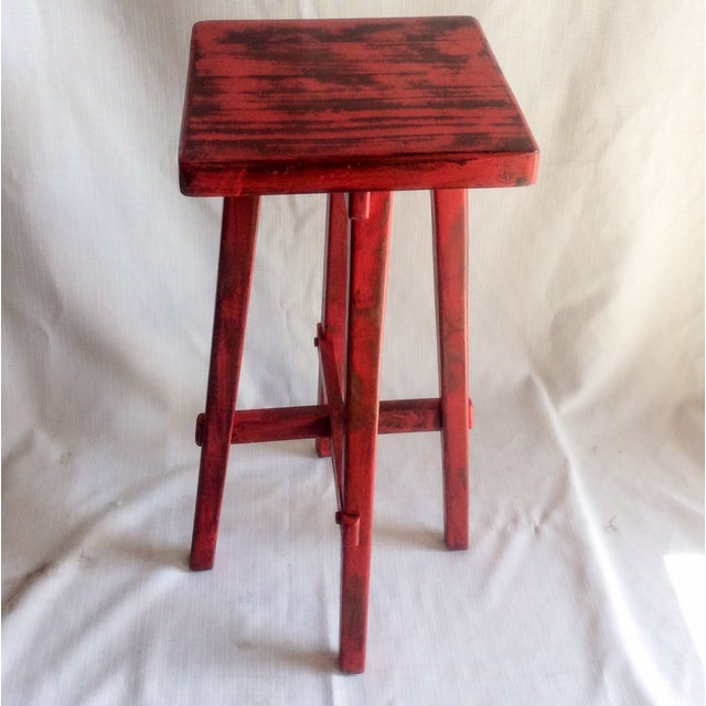 Hand Made Distressed Red Square Bar Stool - Image 8 of 9