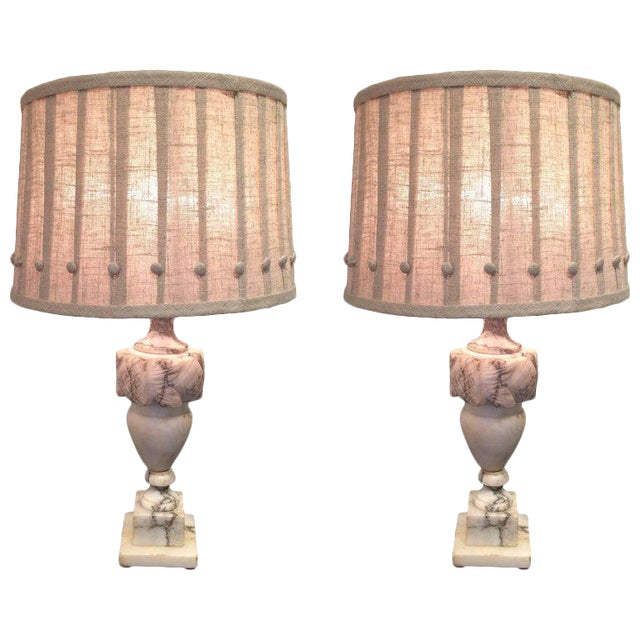 Marble Table Lamps With Custom Shades - A Pair For Sale