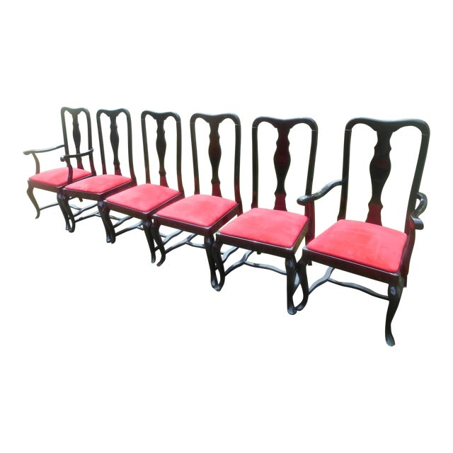 Sculptural Black Lacquer & Red Suede Italian Dining Chairs-Set of 6 For Sale