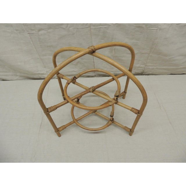 Vintage Bamboo with Rattan Details Two Tier Serving Stand Hand made in Laos in an organic shape of two concentric trays....