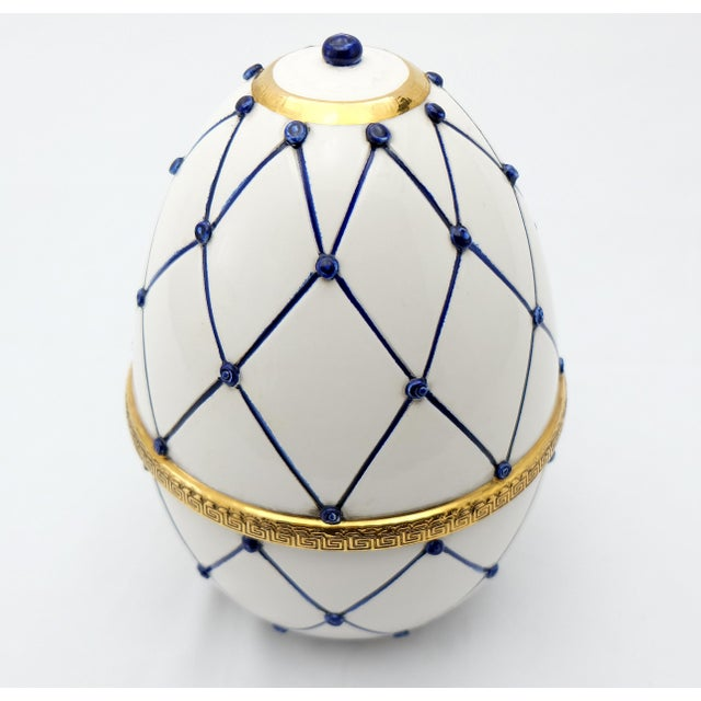 """Sigma L2 Italian Ceramic Rete Blue and Gilt Bronze """"Egg Form"""" Covered Boxes For Sale - Image 4 of 10"""