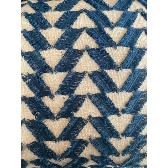Navy and White Woven Pillows - a Pair For Sale In Charlotte - Image 6 of 7