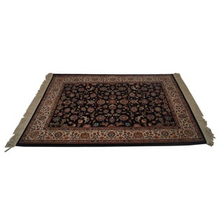 "Vintage Karastan Black Kashan Rug - 4'4"" X 6'10"" For Sale"