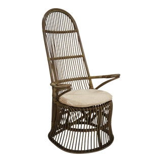 French High Back Chair, Beige, Rattan For Sale