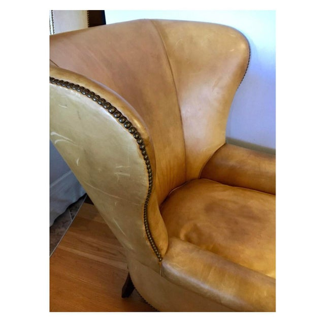 Ralph Lauren Signed Large Leather Nailhead Wingback Chair For Sale - Image 10 of 11