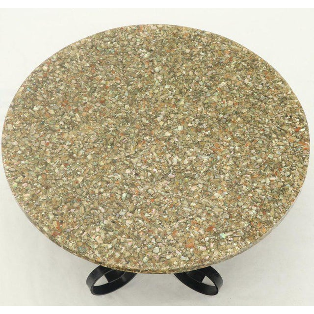 Mid-Century Modern Wrought Iron Base Abalone Composite Round Top Coffee Table For Sale - Image 3 of 9