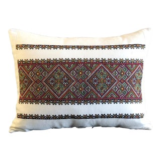Vintage Anatolian Red and Green Embroidery Bolster Pillow For Sale