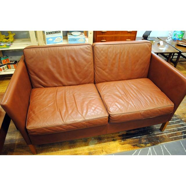 Danish Modern Leather Love Seat - Image 3 of 6