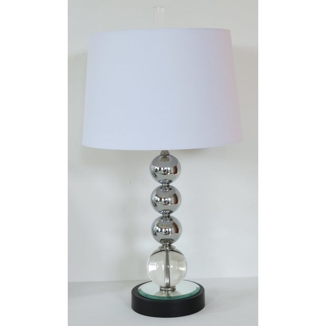Vintage Chrome and Crystal Sphere Lamp - Image 2 of 5