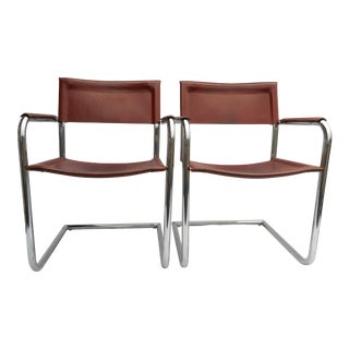 1970 Pair of Matteograssi Arm Chairs - Cognac Leather & Tubular Chrome Cantilever Chairs