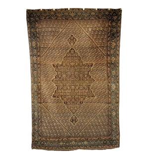 Mid 1800s Senneh in Paisley Design Rug- 4′1″ × 6′5″ For Sale